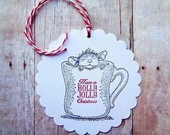 Christmas Mouse Gift Tags Kid's Holiday Hang Tag Have a Holly Jolly Christmas