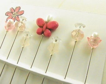 Fancy Sewing Pins Pink Butterfly with Rose Quartz Stars