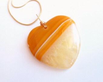 Stone Heart Necklace, Mellow Yellow, Striped Gemstone Heart, Druzy Agate Stone, Distinctive Stone Agate Jewelry