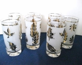 Vintage Libbey Frosted gold Leaf Drinking Glasses Set of 7 Mid Century Modern Bar ware #CR
