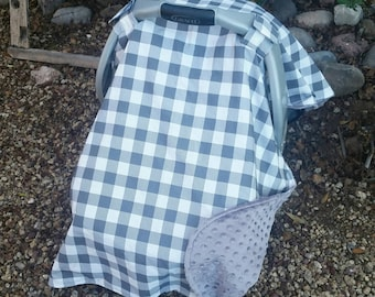 Baby Car Seat Cover - Baby Car Seat Canopy - Grey Car Canopy - Buffalo Plaid Car Seat Canopy - Tribal Canopy - Boy Cover - Baby Shower Gift
