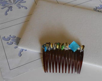 Blue Yellow Hair Comb Colorful Multi Color Combs, Decorative Prom Hair Accessories Handmade Gifts Summer Hair Combs