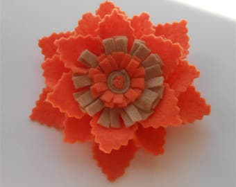 Felt Floral Brooch, Orange Flower Pin, Felted Wool Brooches Pins, Colorful Wool Flower, Handcrafted Fiber Felted Jewelry