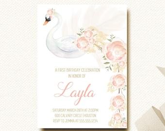 Swan Invitation   Girls First Birthday   Floral Blush Birthday Invite