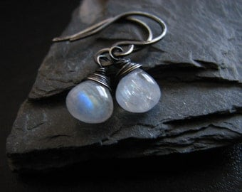Tiny Moonstone Earrings Oxidized Sterling Silver Petite Rainbow Moonstone Earrings Wire Wrapped Jewelry