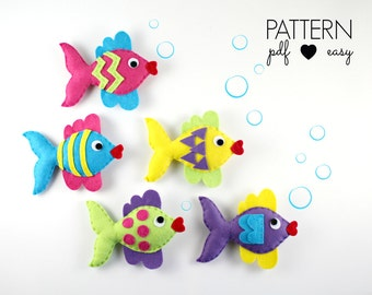 Felt Fish Pattern - Fish Sewing Pattern - Fishing Game Pattern - Fish Baby Mobile - Fish Ornament - Fish Toy - PDF Felt Pattern
