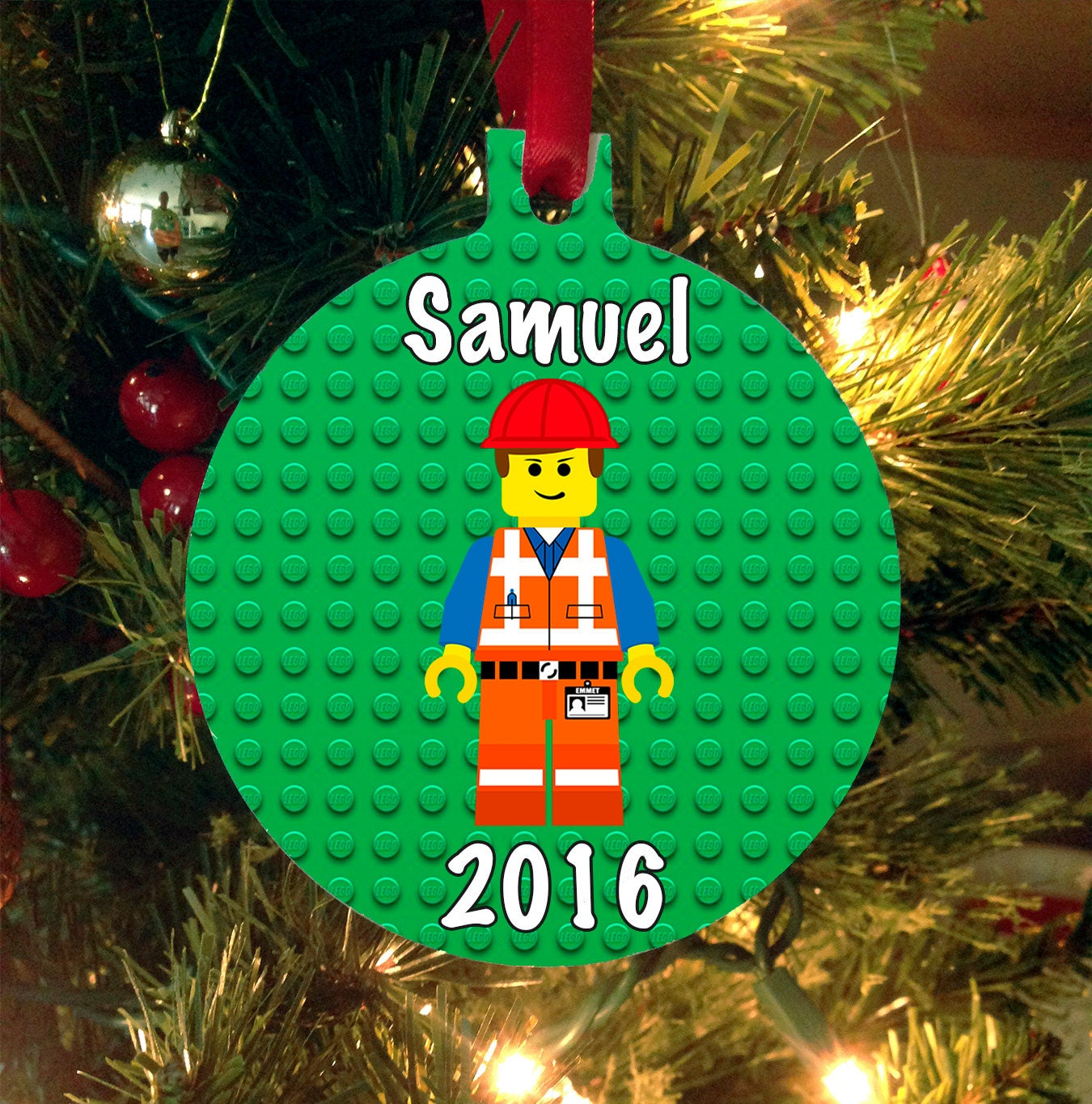 Lego ornament personalized christmas ornament lego movie for Custom engraved christmas ornaments