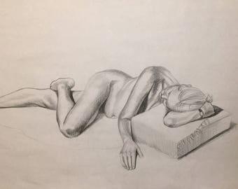 Original Figure Drawing, Reclining Female, unframed, 18in x 24in