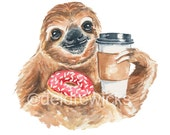 Sloth Watercolor Painting - Coffee Sloth, Coffee Art, Donut Watercolour, 5x7 Watercolour Print, Cute Animal, Cute Illustration, Nursery Art