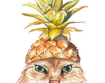 Pineapple Watercolor PRINT - 8x10 Cat Watercolour, Long Haired Cat, Funny Cat Art, Kitchen Art, Animal Painting