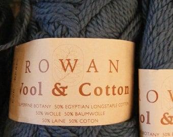 ROWAN Merino Wool Egyptian Cotton 50 Gram Ball Skein Yarn Shade 923 Lot 25L2 Wedgwood Wedgewood Blue England GB UK Martin Storey 3 Ply New