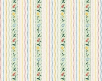 Bunnies stripe in mint from the Bunnies and cream fabric collection by Lauren Nash for Penny Rose / Riley Blake fabrics