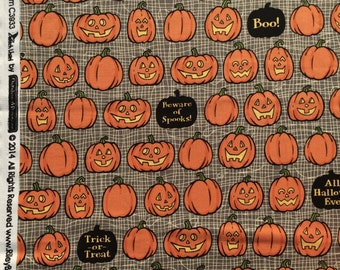 Price DROP : Witch Hazel October Afternoon Jack O Lanterns gray Riley Blake fabrics FQ or two