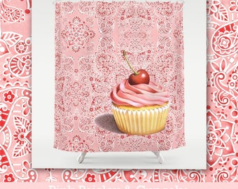Pink Cupcake with a Cherry Paisley illustration shower curtain bathroom decor watercolour pattern  by designer Patricia Shea