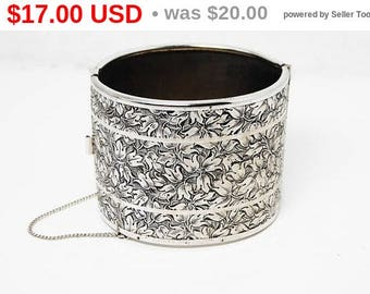 Spring Sale Vintage Wide Etched Cuff Bracelet - Silver Tone Hinged Design - Dancing Leaves - Vintage Mid Century 1950s 1960s Era Extra Wi...