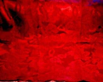 Vintage Fabric Blood Red Damask Remnant