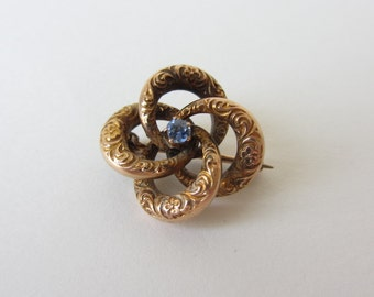 Beautiful 10Kt Yellow Gold Victorian Love Knot Brooch with Blue Stone