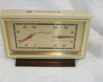 Vintage Airguide Barometer Thermometer Weather Station Advertising Markstone Mfg. Co. Chicago Ill.