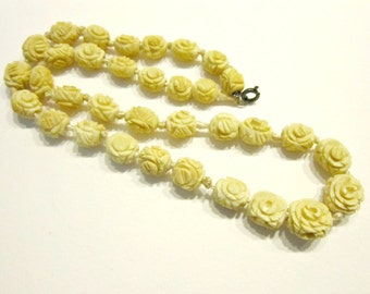 Vintage Carved Celluloid Bead Necklace Carved Rosette Beaded Antique Necklace ca 1920 Hand Strung Needs Repair
