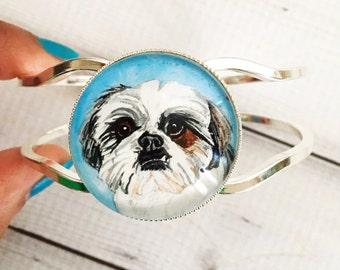 Custom Pet Bracelet- Pet Memorial Bracelet- Shih Tzu Jewelry- Custom Dog Portrait- Dog Memorial Jewelry- Custom Pet Jewelry- Pet Loss Gifts