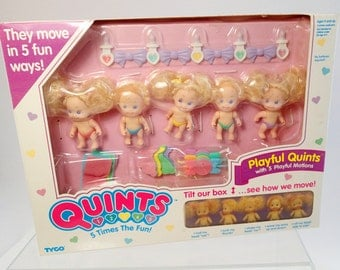 MIB Quints Playful Moving Tyco Blond Baby Miniature Dolls Mint In Box Original