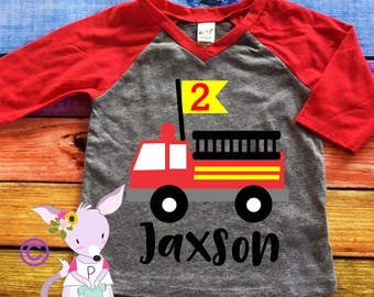 Fire Truck Birthday Shirt Kids Birthday Shirt Fireman Birthday Shirt Name Boys birthday Shirt Kids Shirt Boy Name age included any age fire