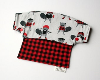 Baby Carrier Drool Bib - Burly Beavers and Red Plaid (Fits LÍLLÉbaby Carriers) - Ready to Ship!