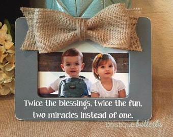 Twins Gift Twins Baby Announcement Twice the Blessings Twice the Fun Picture Frame for Twins Pregnancy Reveal to Parents