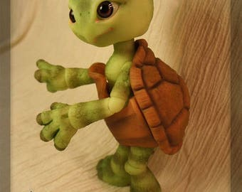Shelly the Turtle - blushed ball joint doll / BJD - Green/tan resin - limited PREORDER