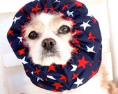 Red Stars Waterproof Dog Snood - Stay-Put 3 Rows Elastic Thread - Rain Hat - Cavalier King Charles or Cocker Snood
