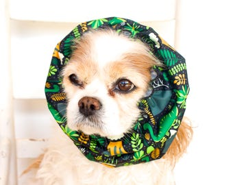 Dinosaur Waterproof Dog Snood,  Stay-Put 3 Rows Elastic Thread, Rain Hat, Cavalier King Charles or Cocker Snood