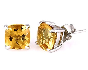 3.90 ct Simulated Citrine, Yellow Topaz, Gemstone Earrings, November Birthstone Earrings, Big, Bold, Large Earrings, 925 Silver, Cushion Cut
