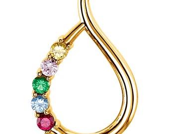Family Birthstone Teardrop Slide Pendant, 14K Rose, White, or Yellow Gold, 1 to 5 Stones, Custom-Made Birthstone Pendant for Your Family