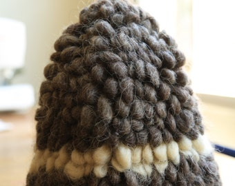 ARTY Puff Knit popcorn natural wool winter hat  handmade vintage MEDIUM