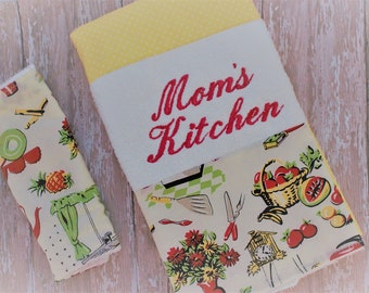 Handmade Kitchen Towel Set - Fifties Kitchen Towel and Dish Rags - Adorable FIFTIES Embroidered Towels - Moms Kitchen Towels - READY to SHIP