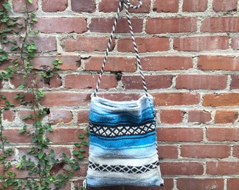 Turquoise and white mexican blanket bag