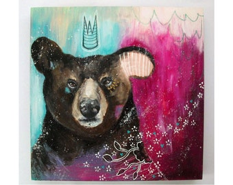 folk art Original Bear painting whimsical boho mixed media art on wood panel 10x10 inches - Time to choose your own path