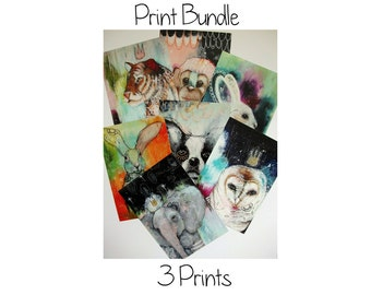 Print bundle 3 glossy oversized postcard art poster prints A5 size - Print bundle 3 prints