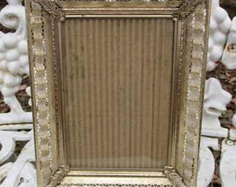 """REDUCED Vtg Mid Century Highly Ornate Gold Filigree Fancy Band Victorian Scroll Designs Metal Easel Back Photo Picture Frame, 6.75"""" x 8.75"""""""