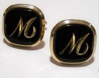 Mid Century Swank Mens Square Cuff Links Initials M or W Black Gold Tone Monogram Jewelry 217gz