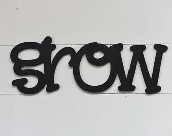 Grow Word Wood Cut Wall Art Sign Decor Kids Home Decor Nursery Play Room Craft Room