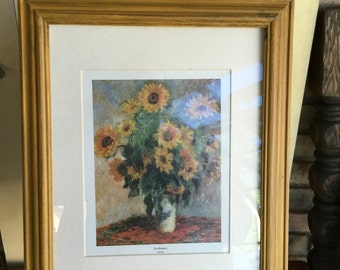 Vintage Colonel Mustard Shabby Chic Framed Sunflower Print