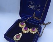 Antique - poss edwardian? - early amethyst glass rhinestone and goldtone necklace with later repair - steampunk