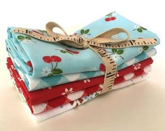 Riley Blake Lori Holt Sew Cherry 2 Fabric - Picnic Day Short Stack Five Fat Quarter Bundle - Red & Aqua Blue Fat Quarters