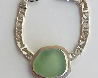 Seafoam Sea Glass Sterling Silver Link Bracelet
