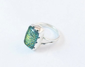 Green Dichroic Glass Ring in Sterling Silver  Size 7 Handmade