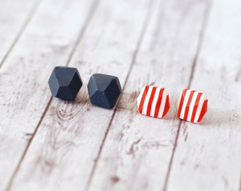 Pentagon studs, Diamond shape posts, Geometric studs, Nautical earrings, Casual earrings, Set of post earrings - blue and white red stripes