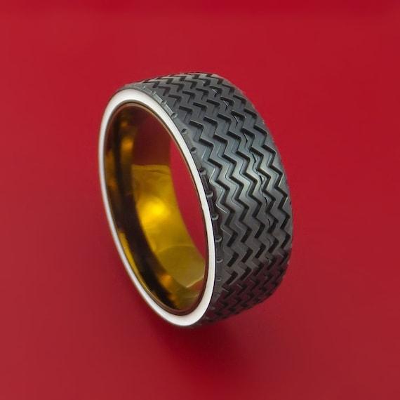 Black Zirconium Hot Rod White Wall Tire Spinner Ring Custom