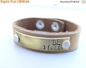 ON SALE Be Still  - Tan Distressed Leather Bracelet. Hand Stamped Stainless Steel Leather Bracelet. Mixed Metals, Small Brown Leather Cuff.
