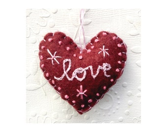 Felt embroidered love Heart Ornament